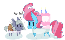 Size: 2605x1600 | Tagged: safe, artist:dragonpone, derpibooru exclusive, cup cake, limestone pie, cake pony, food pony, original species, pie pony, cake, candle, dialogue, duo, ear fluff, ear piercing, earring, exclamation point, female, food, jewelry, lidded eyes, looking at each other, mare, open mouth, pie, piercing, simple background, steam, surprised, white background