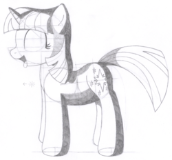 Size: 1430x1327 | Tagged: artist:aafh, monochrome, safe, solo, traditional art, twilight sparkle, unicorn