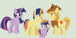 Size: 1131x564 | Tagged: artist:tomee-bear, braeburn, family, female, male, oc, parent:braeburn, parent:twilight sparkle, safe, shipping, straight, twiburn, twilight sparkle
