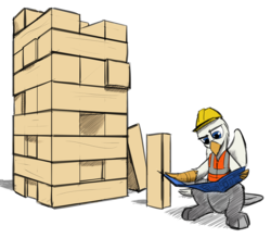 Size: 1280x1119   Tagged: safe, artist:captainhoers, artist:tinibirb, color edit, edit, oc, oc only, oc:der, griffon, colored, construction, hard hat, jenga, male, micro, simple background, solo, transparent background