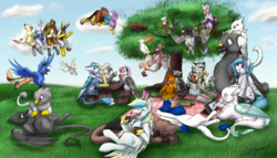 Size: 5760x3300 | Tagged: absurd res, artist:xeirla, avian, bird, classical hippogriff, commission, cute, digital art, father and daughter, feather, female, flock, fluffy, food, griffon, griffonized, group, group shot, hippogriff, male, micro, oc, oc:amber wing, oc:avorin, oc:azrien, oc:blitz, oc:caedis animus, oc:carlamay, oc:cherry feather, oc:cirrus, oc:crow, oc:delta dart, oc:der, oc:floofy, oc:gallagher, oc:gary, oc:gyro feather, oc:gyro tech, oc:harpy, oc:ice, oc:justin, oc:kali, oc:m, oc:muse, oc:nivatus, oc only, oc:portalhunter, oc:rur, oc:saewin, oc:sage, oc:svenno, oc:tril, oc:warren, oc:xeirla, original species, outdoors, picnic, safe, species swap, sunflower seeds, talons, wall of purple, zebragriff, zerb