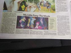 Size: 960x720 | Tagged: safe, photographer:benlore, applejack, fluttershy, pinkie pie, rainbow dash, rarity, twilight sparkle, alicorn, my little pony: the movie, irl, malaysia, mane six, my little pony movie review, newspaper, photo, review, text, twilight sparkle (alicorn)