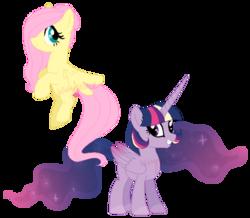 Size: 600x524 | Tagged: safe, artist:lullabyprince, fluttershy, twilight sparkle, alicorn, pony, alternate hairstyle, older, short, twilight sparkle (alicorn), watermark