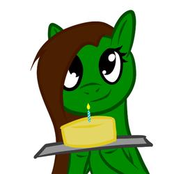 Size: 512x512 | Tagged: safe, artist:aeropegasus, oc, oc only, oc:aero pegasus, pegasus, pony, cake, food, happy birthday, looking at you, simple background, solo