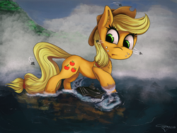 Size: 3000x2253 | Tagged: safe, artist:ferasor, applejack, earth pony, pony, aircraft carrier, cowboy hat, female, freckles, giant pony, hat, jet, jet fighter, macro, mare, stetson, water