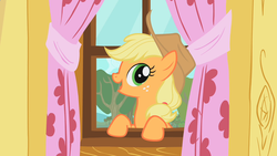 Size: 1280x720 | Tagged: safe, screencap, applejack, earth pony, pony, the show stoppers, clubhouse, crusaders clubhouse, solo