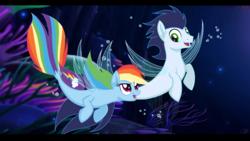 Size: 1920x1080 | Tagged: safe, artist:pimpartist101, rainbow dash, soarin', seapony (g4), my little pony: the movie, female, male, seaponified, seapony rainbow dash, seapony soarin', shipping, soarindash, species swap, straight