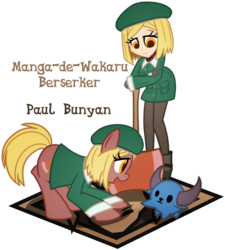 Size: 1800x2000 | Tagged: anime, artist:geraritydevillefort, berserker, clothes, crossover, earth pony, equestria girls, equestria girls-ified, fate/grand order, female, mare, paul bunyan, ponified, pony, safe, self ponidox, simple background, smiling, transparent background