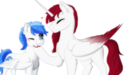 Size: 3500x2100 | Tagged: safe, artist:isorrayi, oc, oc only, oc:fausticorn, alicorn, pegasus, pony, colored wings, eyes closed, female, heart, high res, mare, multicolored wings, simple background, smiling, transparent background, two toned wings, wings