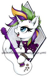Size: 600x955   Tagged: safe, artist:pingwinowa, rarity, pony, it isn't the mane thing about you, alternate hairstyle, bad guitar anatomy, female, guitar, mare, musical instrument, punk, raripunk, solo