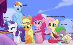 Size: 759x471   Tagged: safe, edit, edited screencap, screencap, applejack, fluttershy, pinkie pie, rainbow dash, rarity, spike, twilight sparkle, alicorn, dragon, my little pony: the movie, angry, caption, faic, image macro, looking down, meme, offscreen character, out of context, quill, rainbow dash is best facemaker, scroll, smiling, twilight sparkle (alicorn), varying degrees of want, wat, worried