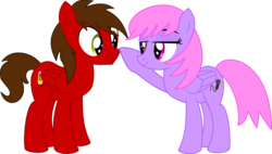 Size: 6859x3885   Tagged: safe, artist:cyanlightning, oc, oc only, oc:chip, oc:melody notes, pegasus, pony, boop, duo, female, folded wings, lidded eyes, male, mare, simple background, stallion, transparent background, vector