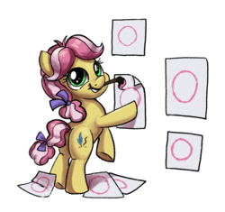 Size: 874x821 | Tagged: safe, artist:tsitra360, kettle corn, earth pony, pony, marks and recreation, bipedal, circle, circle painting, female, filly, foal, looking back, mouth hold, paintbrush, plot, simple background, smiling, solo, that pony sure does love circles, white background