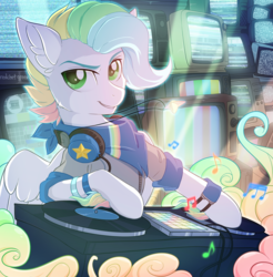 Size: 1891x1920 | Tagged: safe, artist:redchetgreen, oc, oc only, pegasus, pony, clothes, commission, headphones, male, multicolored hair, music notes, party, stallion, television, turntable, ych result