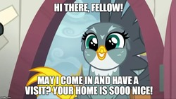 Size: 888x499 | Tagged: safe, edit, edited screencap, screencap, gabby, griffon, bronybait, cute, door, female, gabbybetes, grin, happy, image macro, imgflip, invitation, meme, smiling, solo
