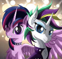 Size: 3000x2850   Tagged: safe, artist:orangejuicerus, rarity, twilight sparkle, alicorn, pony, unicorn, it isn't the mane thing about you, alternate hairstyle, clothes, female, lesbian, looking at you, mare, one eye closed, punk, punklight sparkle, rarilight, raripunk, raripunklight, shipping, short hair, smiling, twilight sparkle (alicorn), wink