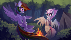 Size: 3053x1746 | Tagged: safe, artist:ramiras, derpibooru exclusive, fleetfoot, rainbow dash, pegasus, pony, camping, clearing, commission, female, fire, fireplace, fleetdash, flying, forest, jewelry, looking at each other, necklace, shipping, smiling, tent, wallpaper