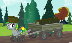 Size: 4200x2520 | Tagged: safe, artist:a4r91n, derpibooru exclusive, oc, oc only, oc:wheely bopper, original species, pony, wheelpone, cart, forest, hat, logs, looking at you, mud, pulling, solo, spintires, tail wrap, ushanka, vector