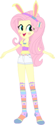 Size: 267x601 | Tagged: safe, artist:wolf, fluttershy, equestria girls, blushing, bunny ears, bunnyshy, clothes, easter, female, holiday, missing shoes, shorts, simple background, socks, solo, white background