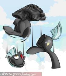 Size: 1300x1500 | Tagged: safe, artist:uliovka, thunderlane, pegasus, pony, detachable head, disassembly fetish, disembodied head, half, headless, male, modular, not salmon, solo, stallion, wat
