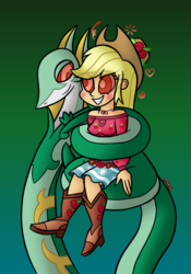 Size: 740x1060 | Tagged: applejack, artist:snakeythingy, blushing, camp everfree outfits, coils, crossover, equestria girls, gradient background, hypnosis, kaa eyes, legend of everfree, looking at each other, mind control, pokémon, safe, serperior, snake, story included