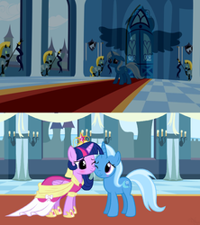 Size: 1188x1338 | Tagged: alicorn, artist:navitaserussirus, big crown thingy, blushing, clothes, coronation dress, cute, dress, edit, female, jewelry, lesbian, magical mystery cure, regalia, safe, shipping, trixie, twilight sparkle, twilight sparkle (alicorn), twixie