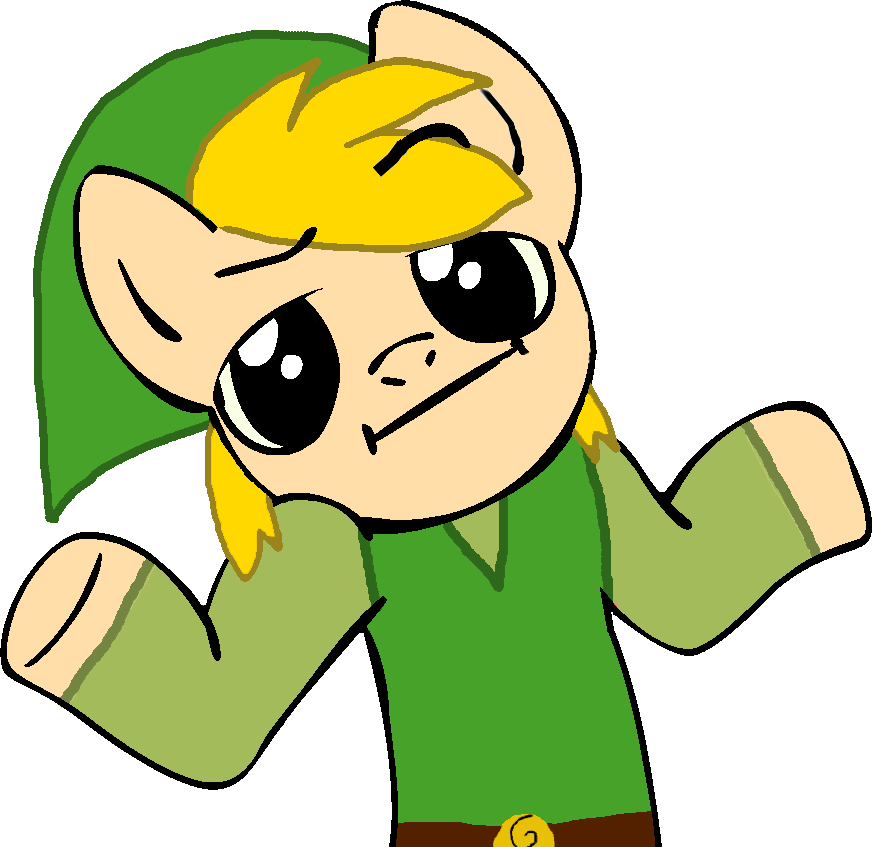 1566089 Artist Verycoolguy Link Looking At You Meme Ponified Pony Safe Shrug Shrugpony Simple Background Solo The Legend Of Zelda Toon Link Transparent Background Derpibooru