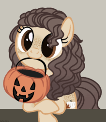 Size: 630x720 | Tagged: artist:pgthehomicidalmaniac, base used, earth pony, female, hair over one eye, looking at you, mare, oc, oc:lumina, oc only, pony, pumpkin, safe, simple background, solo, to saddlebags and back again