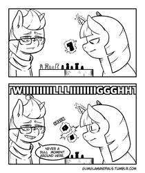 Size: 1859x2216 | Tagged: 2 panel comic, artist:raph13th, black and white, chess, comic, comic:glim glam and pals, dialogue, duo, grayscale, levitation, magic, monochrome, moondancer, offscreen character, pony, safe, screaming, smiling, telekinesis, tumblr, twilight sparkle, unicorn