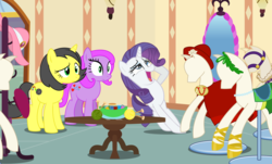 Size: 3236x1950 | Tagged: safe, artist:xenoneal, rarity, oc, oc:pauly sentry, oc:reggie sentry, pony, unicorn, .svg available, female, mannequin, mare, paulina, regina, svg, swoon, vector