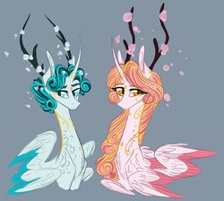 Size: 1600x1434 | Tagged: safe, artist:australian-senior, oc, oc only, oc:eleanor aetherius, oc:flynn aetherius, alicorn, hybrid, pony, seraph, seraphicorn, alternate universe, angel, antlers, bust, concept, curved horn, multiple wings, portrait, swirly markings