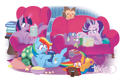 Size: 1280x835 | Tagged: alicorn, artist:justasuta, book, couch, food, glowing horn, owlowiscious, pegasus, pony, popcorn, rainbow dash, reading, relaxing, safe, scootaloo, sleeping, spike, starlight glimmer, tank, twilight's castle, twilight sparkle, twilight sparkle (alicorn), unicorn