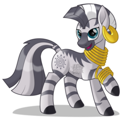Size: 2012x1877 | Tagged: artist:zerogravitybadger, bracelet, cute, ear piercing, earring, female, jewelry, looking at you, mare, movie accurate, piercing, raised hoof, safe, simple background, smiling, watermark, white background, zebra, zecora, zecorable