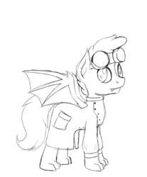 Size: 713x860 | Tagged: safe, artist:timid tracks, oc, oc only, oc:scales, dracony, hybrid, clothes, goggles, lab coat, mad scientist, nightmare night, scientist, sketch, solo