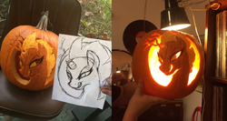 Size: 2413x1280 | Tagged: safe, artist:docwario, artist:jake lion, tempest shadow, unicorn, my little pony: the movie, broken horn, female, halloween, holiday, irl, jack-o-lantern, photo, pumpkin, solo