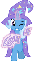 Size: 4751x8336 | Tagged: safe, artist:jhayarr23, trixie, pony, unicorn, uncommon bond, absurd resolution, cape, card, clothes, cute, diatrixes, glowing horn, hat, levitation, magic, one eye closed, playing card, simple background, smiling, telekinesis, transparent background, trixie's cape, trixie's hat, wink