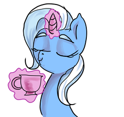 Size: 1712x1612 | Tagged: safe, artist:mannybcadavera, trixie, pony, unicorn, cup, female, glowing horn, magic, mare, simple background, solo, teacup, that pony sure does love teacups