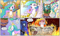 Size: 1920x1149 | Tagged: safe, artist:pencils, princess celestia, princess luna, oc, oc:glenda gullwind, alicorn, griffon, pony, comic:sunbutt sunday, angry, burning, camera, camera flashes, comic, cookie, crown, crying, cute, cutelestia, daybreaker origin story, dialogue, embers, faic, female, fire, food, furious, griffon oc, horseshoes, hot, innuendo, jewelry, lip bite, mane of fire, mare, mouth hold, newspaper, one eye closed, open mouth, paparazzi, peytral, prime celestia, reading, regalia, royal sisters, speech bubble, sweat, this will end in fire, this will end in pain and/or death, this will end in tears and/or a journey to the moon, thought bubble
