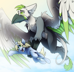 Size: 3340x3263 | Tagged: source needed, safe, artist:ralek, oc, oc only, oc:art's desire, oc:ralek, griffon, pony, unicorn, carrying, cute, flying, high res, holding a pony, large wings, leonine tail, open mouth, simple background, size difference, sky, talons, tongue out, wings