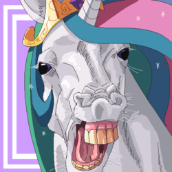 Size: 500x500 | Tagged: artist:merumeto, bust, flehmen response, hoers, horses doing horse things, majestic as fuck, nightmare fuel, not salmon, oh god, open mouth, pixiv, portrait, princess celestia, safe, simple background, solo, teeth, wat