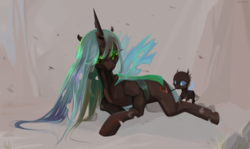 Size: 3500x2079   Tagged: safe, artist:utauyan, queen chrysalis, changeling, changeling queen, baby, cutie mark, drawing, duo, heart, horn, larva, love, mommy chrissy, simple background, wings