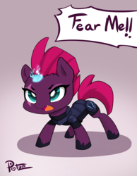 Size: 3500x4500 | Tagged: safe, artist:potzm, tempest shadow, pony, unicorn, my little pony: the movie, armor, broken horn, chibi, cute, eye scar, female, hnnng, horn, i'm not cute, mare, scar, simple background, solo, sparking horn, tempestbetes