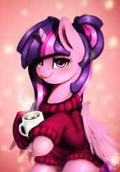Size: 1400x2000 | Tagged: safe, artist:moondreamer16, twilight sparkle, alicorn, pony, :p, alternate hairstyle, chocolate, clothes, coffee mug, female, food, heart eyes, hot chocolate, looking at you, mare, marshmallow, mug, smiling, solo, sweater, tongue out, twilight sparkle (alicorn), wingding eyes