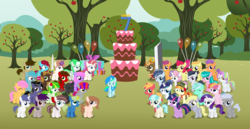 Size: 9523x4917 | Tagged: absurd res, age regression, alicorn, apple, apple bloom, apple tree, aquamarine, artist:cyanlightning, balloon, banana, bat pony, big macintosh, blank flank, bow, buster sword, buttoncorn, button mash, changeling, chipcutter, clothes, coconut cream, coco pommel, collar, colt, cross-eyed, derp, derpy hooves, eyes closed, female, filly, filly guides, final fantasy, final fantasy vii, flower, flower in hair, folded wings, food, hair bow, happy birthday mlp:fim, hat, jewelry, king button mash, kneesocks, levitation, looking at you, looking up, lyra heartstrings, magic, male, medallion, missing accessory, mlp fim's seventh anniversary, noi, oc, oc:aureai, oc:aurelia freefeather, oc:aurelleah, oc:aurry, oc:autumn moon, oc:beauty cheat, oc:chip, oc:coldfire (bat pony), oc:contour, oc:cyan lightning, oc:dee valerie, oc:éling chang, oc:emerald lightning, oc:gadget apparatus, oc:green lightning, oc:iphigenia, oc:mellow rhythm, oc:melody notes, oc:milo, oc:ngkq, oc:screen gazer, oc:star scraper, one eye closed, open mouth, pegasus, pony, rarity, regalia, rhododendron, ribbon, rule 63, rumble, safe, scarf, scootaloo, shady daze, shining armor, smiling, socks, spread wings, stockings, sweetie belle, sword, tag-a-long, telekinesis, tender taps, thigh highs, toola roola, tree, twilight sparkle, unicorn, unicorn twilight, vector, watermelon, weapon, wings, wink, younger