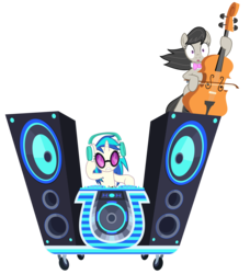 Size: 8112x8914 | Tagged: safe, artist:greenmachine987, dj pon-3, octavia melody, vinyl scratch, earth pony, pony, unicorn, slice of life (episode), absurd resolution, cello, female, mare, musical instrument, open mouth, shocked, simple background, transparent background, turntable, vector, wubcart
