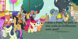 Size: 1280x640 | Tagged: safe, edit, edited screencap, screencap, apple bloom, berry punch, berryshine, bon bon, cantora, cherry cola, cherry fizzy, dizzy twister, gabby, octavia melody, orange swirl, parish nandermane, royal riff, scootaloo, sweetie belle, sweetie drops, earth pony, griffon, pegasus, pony, unicorn, the fault in our cutie marks, adorabon, amused, background pony, balloon, berrybetes, bon bon is amused, bow (instrument), cello, cello bow, cropped, cute, cutie mark crusaders, eyes closed, female, filly, flying, gabbybetes, happy, male, mare, musical instrument, party, ponyville, singing, stallion