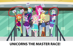 Size: 1920x1268 | Tagged: safe, screencap, applejack, fluttershy, pinkie pie, rainbow dash, rarity, sci-twi, sunset shimmer, twilight sparkle, equestria girls, equestria girls series, the finals countdown, a+, converse, female, geode of empathy, geode of shielding, geode of sugar bombs, geode of super speed, geode of super strength, glasses, humane five, humane seven, humane six, magical geodes, master race, ponytail, rarity peplum dress, shoes, test paper, unicorn master race