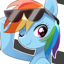 Size: 1375x1375   Tagged: safe, artist:ryuu, rainbow dash, pegasus, pony, bust, female, glasses, looking at you, mare, one eye closed, portrait, smiling, solo, starry eyes, sunglasses, wingding eyes, wink