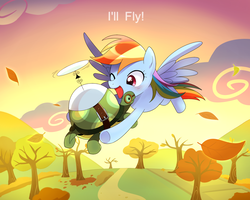 Size: 2000x1600 | Tagged: safe, artist:ryuu, rainbow dash, tank, pegasus, pony, tortoise, autumn, cloud, female, flying, i'll fly, leaves, mare, one eye closed, open mouth, sky, smiling, spread wings, sunset, tree, wings