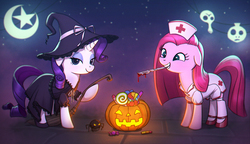 Size: 1637x943   Tagged: safe, artist:agaberu, pinkie pie, rarity, earth pony, pony, spider, unicorn, broom, candy, chromatic aberration, clothes, costume, dress, duo, eyeshadow, female, food, halloween, hat, holiday, jack-o-lantern, knife, lidded eyes, looking at you, makeup, mare, moon, mouth hold, night, nurse, pinkamena diane pie, pumpkin, scalpel, shoes, smiling, stars, witch, witch hat